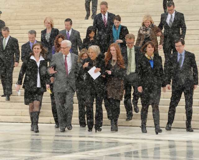 Walking down the steps after Oral Argument